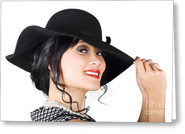 Discern Greeting Cards - Magnificent woman with smile in fashionable sunhat Greeting Card by Ryan Jorgensen