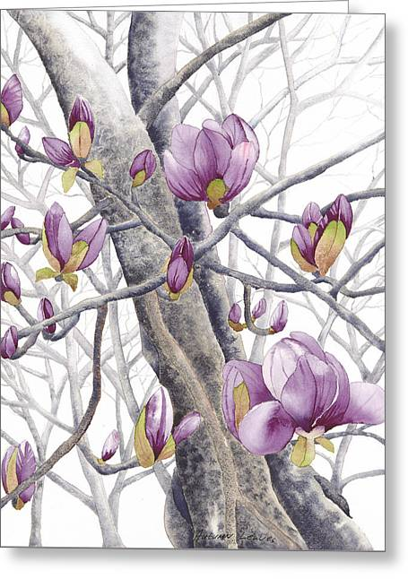 Magnolia Thrice Greeting Card by Autumn Leaves