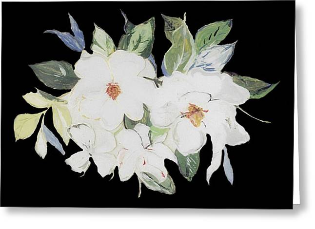 Whites Glass Art Greeting Cards - Magnolia Blossom 1 Greeting Card by Mama Jo Gonzaque