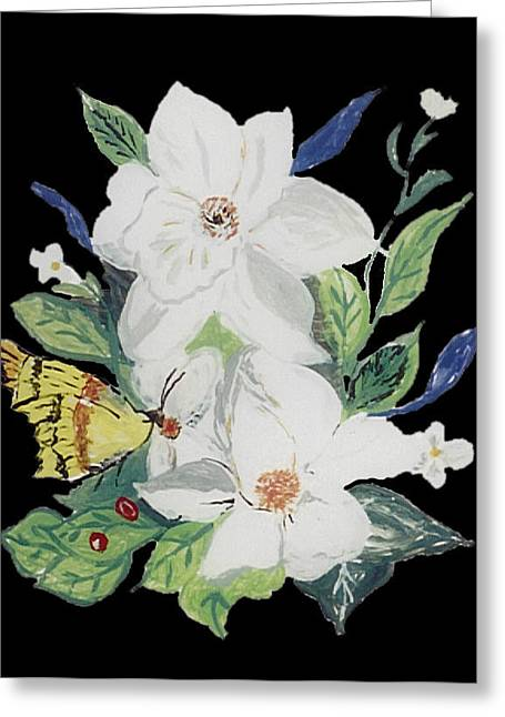 Whites Glass Art Greeting Cards - Magnolia Blossom 2 Greeting Card by Mama Jo Gonzaque