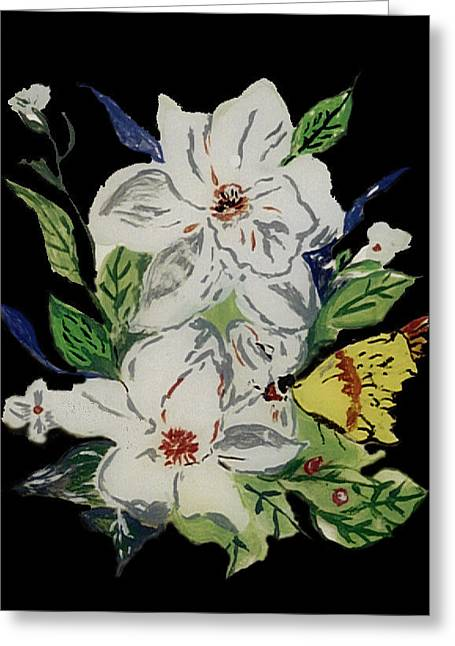 Whites Glass Art Greeting Cards - magnolia Blossom 3 Greeting Card by Mama Jo Gonzaque