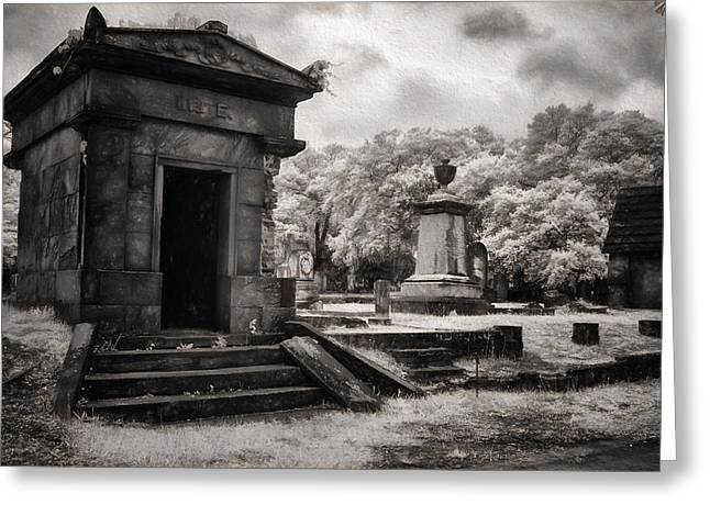 Grave Side Greeting Cards - Magnolia Cemetery Greeting Card by Cindy Archbell