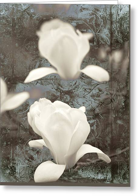Textured Floral Mixed Media Greeting Cards - Magnolia Greeting Card by Frank Tschakert