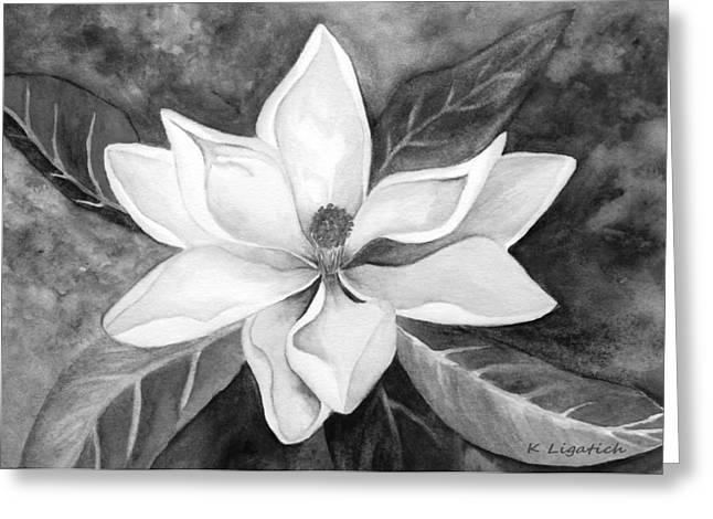 Kerri Ligatich Greeting Cards - Magnolia in Black and White Greeting Card by Kerri Ligatich