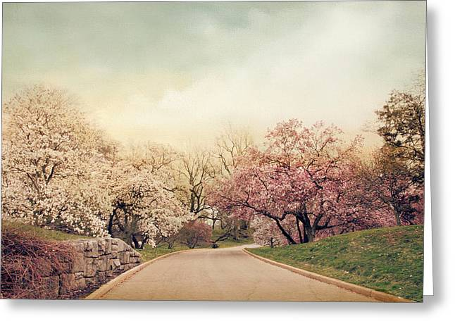 Pink Road Greeting Cards - Magnolia Lane Greeting Card by Jessica Jenney