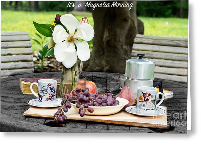 Outside Tapestries - Textiles Greeting Cards - Magnolia Morning Greeting Card by James Hennis