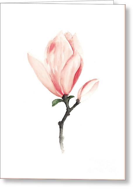 Gift Jewelry Greeting Cards - Magnolia pink flower watercolor art print Greeting Card by Joanna Szmerdt