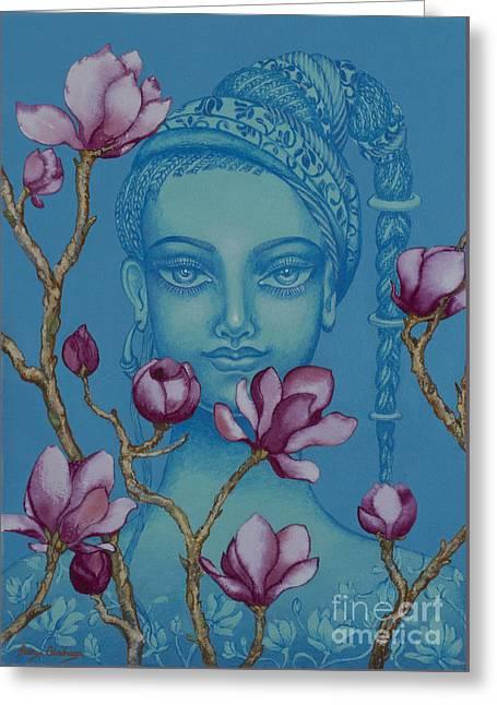 Magnolia Greeting Card by Yuliya Glavnaya