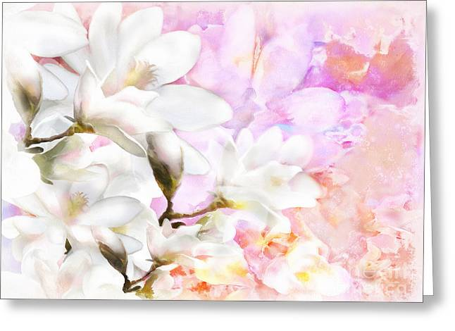 Medium Pink Greeting Cards - Magnolias Greeting Card by Shanina Conway