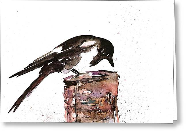 Magpie Greeting Cards - Magpie on a Stump Greeting Card by Carolyn Doe