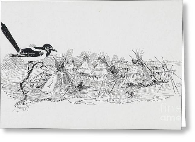 Magpie Surveying Indian Tipi Village Greeting Card by Celestial Images