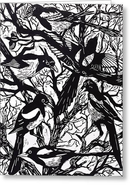Magpies Greeting Card by Nat Morley