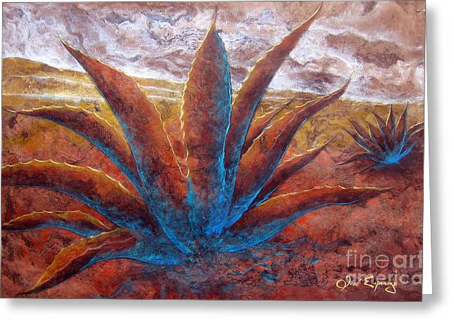 Amate Bark Paper Greeting Cards - Maguey Greeting Card by Jose Espinoza