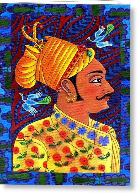 Border Greeting Cards - Maharaja with blue birds Greeting Card by Jane Tattersfield
