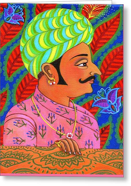 Colorful Indian Greeting Cards - Maharaja with butterflies Greeting Card by Jane Tattersfield
