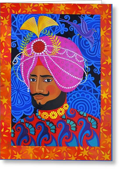 Dynasty Greeting Cards - Maharaja with Pink Turban Greeting Card by Jane Tattersfield