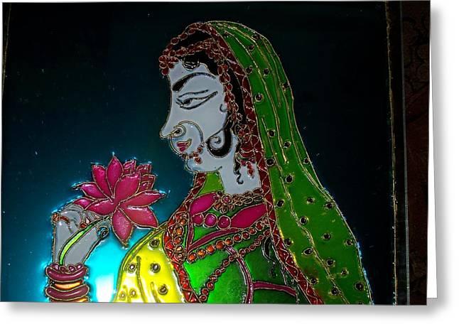 Women Glass Art Greeting Cards - Maharani Greeting Card by Sarika Hemane