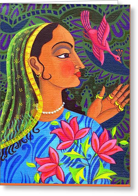 Indian Princess Greeting Cards - Maharani with magenta bird Greeting Card by Jane Tattersfield