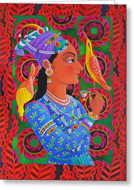 Indian Princess Greeting Cards - Maharani with two birds Greeting Card by Jane Tattersfield