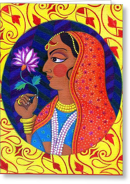 Bold Necklace Greeting Cards - Maharani with white and pink flower Greeting Card by Jane Tattersfield