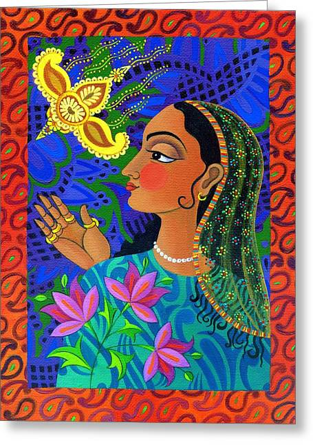 Indian Princess Greeting Cards - Maharani with yellow bird Greeting Card by Jane Tattersfield