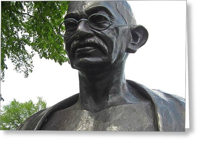 Great Sculptures Greeting Cards - Mahatma Gandhi Greeting Card by John Malone