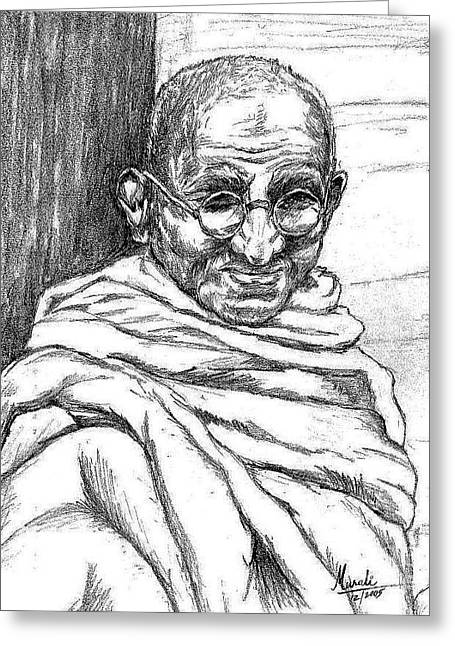 Leaders Pastels Greeting Cards - Mahatma Gandhi Greeting Card by Murali