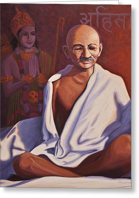 Rama Greeting Cards - Mahatma Gandhi Greeting Card by Steve Simon