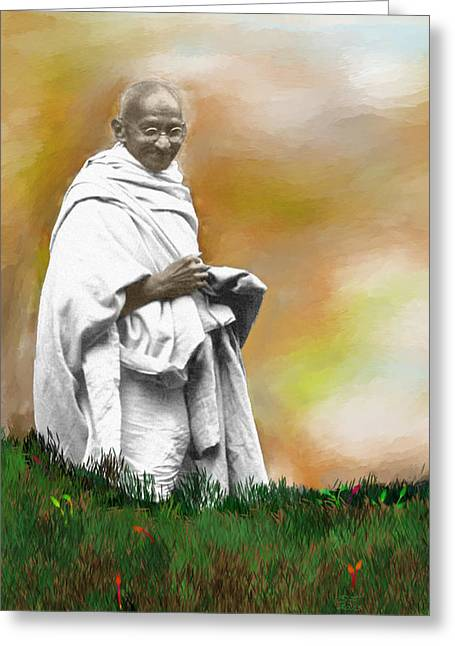 Disobedient Greeting Cards - Mahatma Ghandi Greeting Card by C A Soto Aguirre