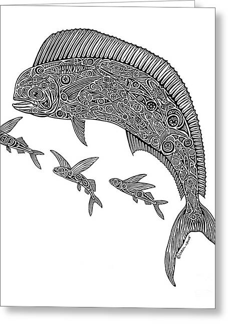 Diving Drawings Greeting Cards - Mahi with Flying Fish Greeting Card by Carol Lynne