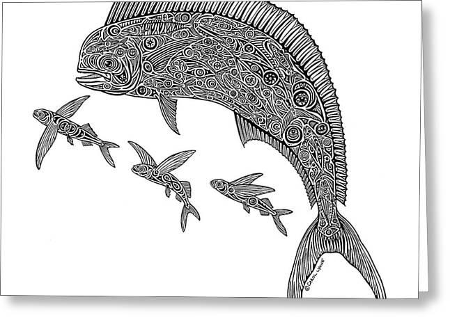 Mahi With Flying Fish Greeting Card by Carol Lynne