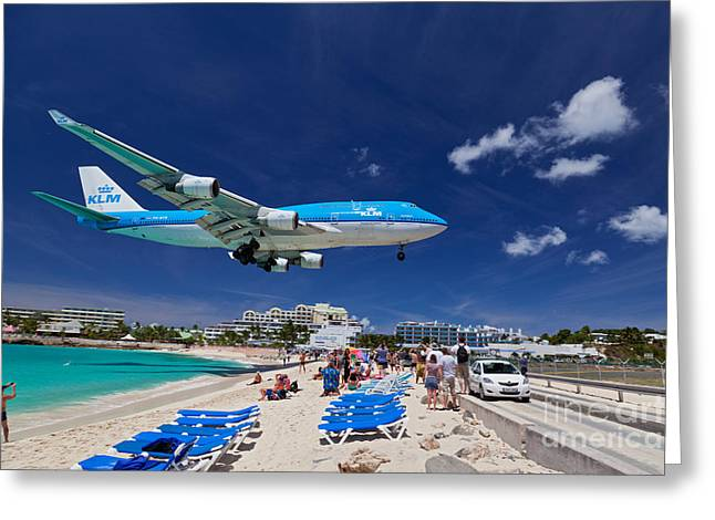 Klm Greeting Cards - Maho Beach Greeting Card by Katka Pruskova