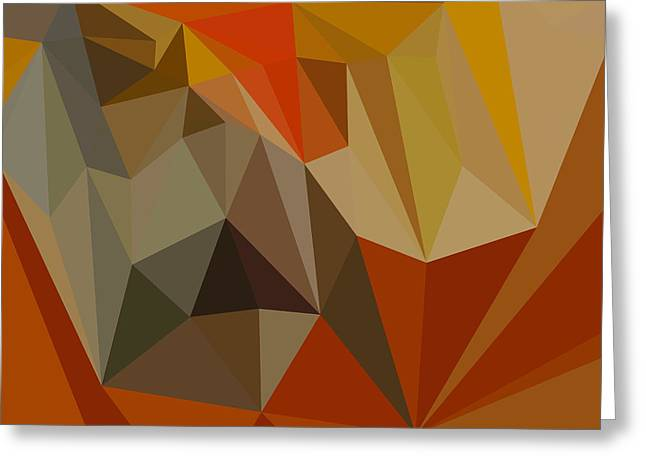 Mahogany Red Greeting Cards - Mahogany Brown Abstract Low Polygon Background Greeting Card by Aloysius Patrimonio