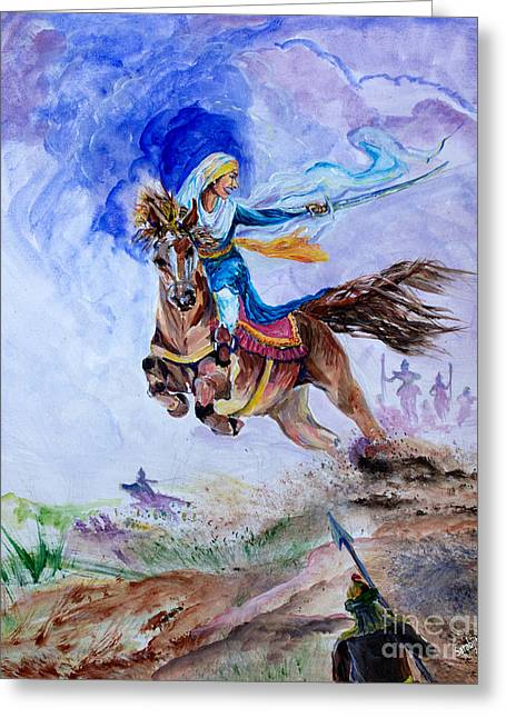 Warrior Goddess Greeting Cards - Mai Bhago Greeting Card by Sarabjit Singh