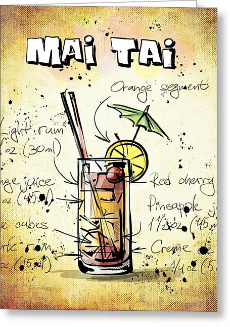 Gathering Mixed Media Greeting Cards - Mai Tai Greeting Card by Movie Poster Prints