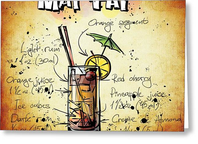 Bartender Drawings Greeting Cards - Mai Tai Recipe Greeting Card by Alexas Fotos