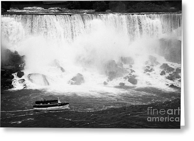 Maid Of The Mist Boat Below The American And Bridal Veil Falls Niagara Falls Ontario Canada Greeting Card by Joe Fox