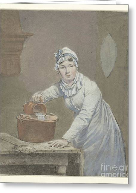 Saucepan Greeting Cards - Maid pours milk into a saucepan Greeting Card by Jean Baptiste Mallet