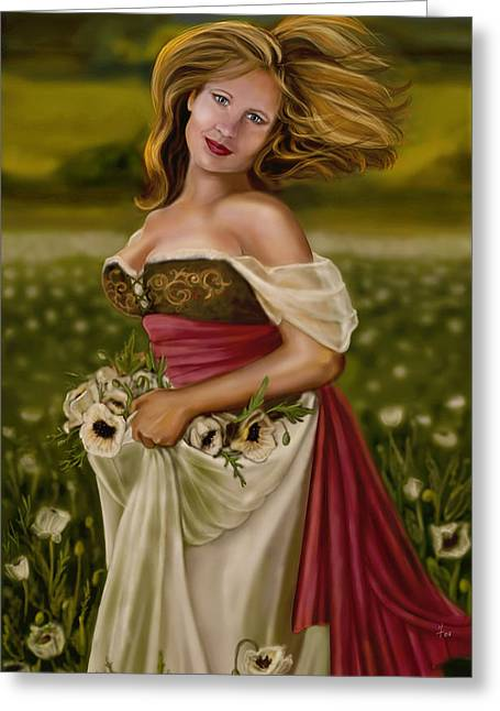 Busty Greeting Cards - Maiden amongst the Poppies Greeting Card by Maggie Terlecki
