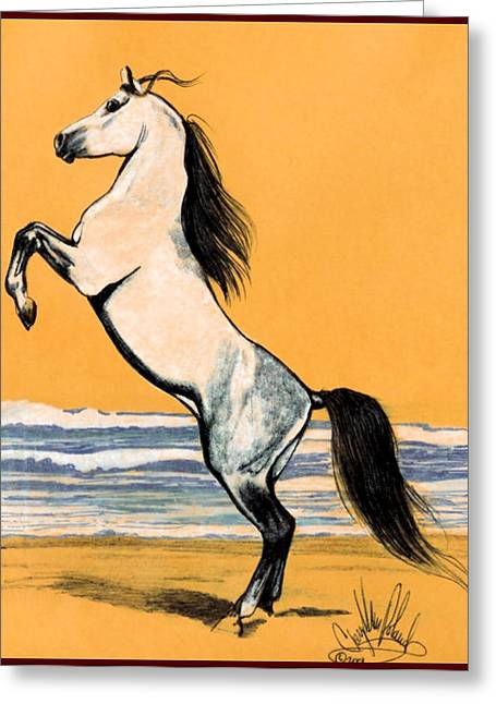 Horse Drawing Greeting Cards - Mail Beauty Greeting Card by Cheryl Poland