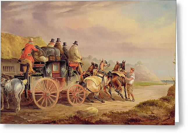 Horse Pulling Wagon Greeting Cards - Mail Coaches on the Road - The Quicksilver  Greeting Card by Charles Cooper Henderson