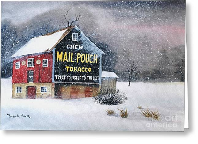 Blizzard Scenes Greeting Cards - Mail Pouch Tobacco Barn Greeting Card by Patrick Moyer