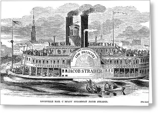 Paddle Wheel Greeting Cards - MAIL STEAMBOAT, 1854. /nThe Louisville Mail Company steamboat Jacob Strader. Wood engraving, 1854 Greeting Card by Granger