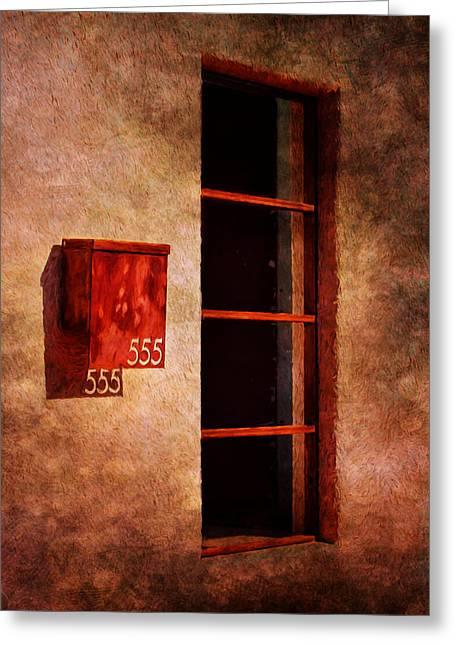 Mailbox - Window - 555 Greeting Card by Nikolyn McDonald