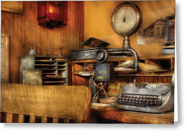 Typewriter Greeting Cards - Mailman - In the Office Greeting Card by Mike Savad