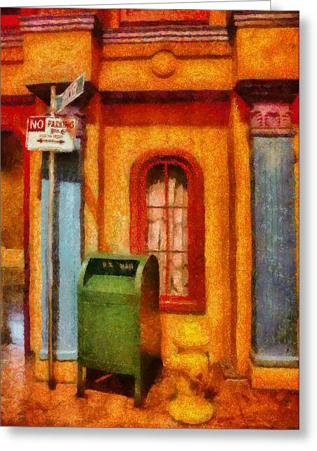 Postal Greeting Cards - Mailman - No Parking Greeting Card by Mike Savad
