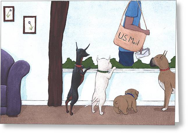 Dog Drawings Greeting Cards - Mailman Greeting Card by Christy Beckwith