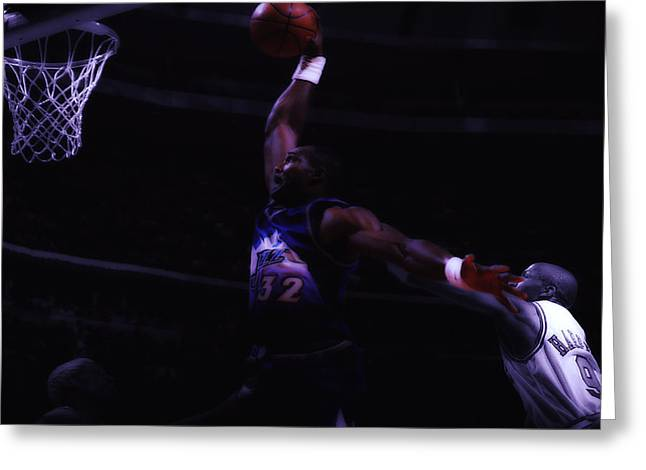 Karl Malone Greeting Cards - Mailman Midnight Delivery Greeting Card by Brian Reaves
