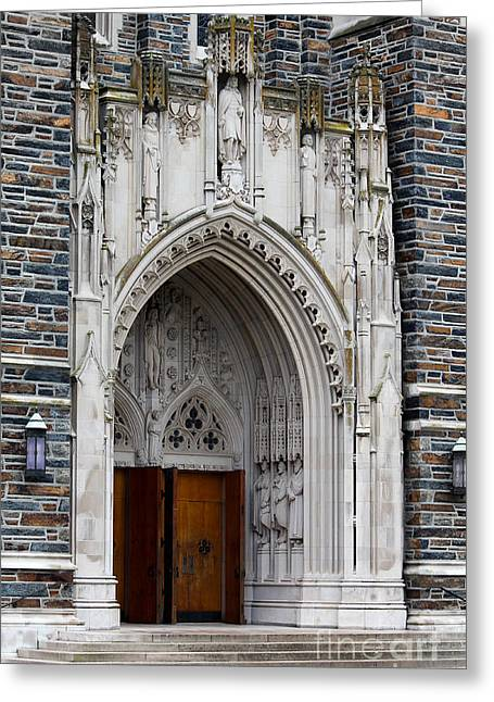 Ecumenical Greeting Cards - Main Entrance to Duke Chapel Greeting Card by Robert Yaeger