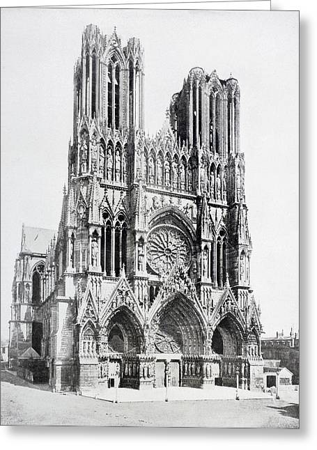 First Lady Drawings Greeting Cards - Main Facade Of Notre-dame De Reims  Our Greeting Card by Ken Welsh